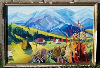 Картина. Осень. Закарпатский художник. Холст/масло 80,5 х 120,5 см.