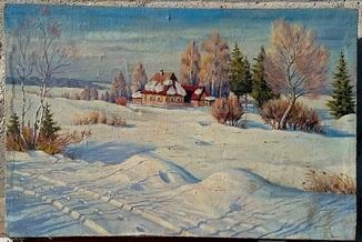 Картина. Зима. Закарпатский художник. Холст/масло 46,5 х 70 см. 1982 год. Подпись.