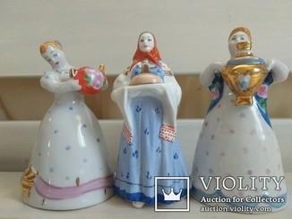 Композиция Дулево. Три статуэтки чай, чаек.1950 годы.