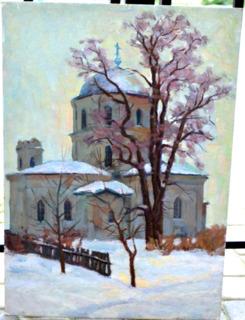 """Картина картон, масло """"Забута церква в Седневi"""" 1969 год. Чернюк В.Г"""