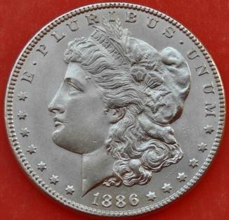 1 Доллар 1886 год . Морган. Серебро. AU