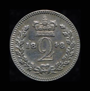 Великобритания 2 пенса 1848 серебро маунди