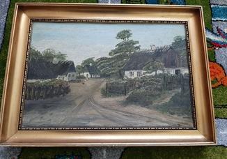 Старий пейзаж. Картина привезена з Європи 42х28 см