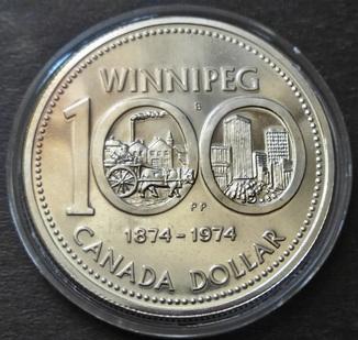 1 Доллар 1874-1974 Виннипег, Канада, Серебро