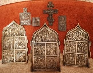 Складень Двунадесятые праздники, иконка, крест