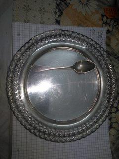 Серебро Тарелка 167,7гр. Ложечка 21,5 гр. 189,2 гр