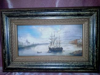 Картина ,Морской пейзаж ,, дерево, масло