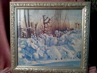 Berger ,, Зимний пейзаж,, акварель