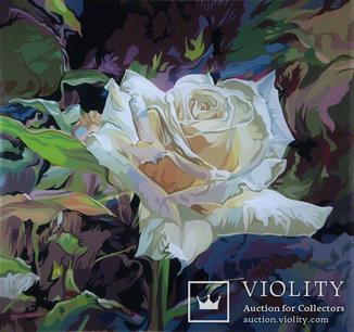 Біла троянда. Скло,акрил.(32х30). Копия.