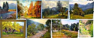 Большой лот картин (8 картин) Картон, холст, масло. 1960-1970-е года