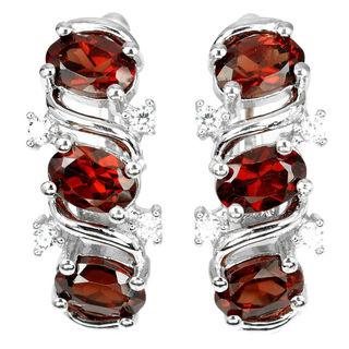 Серьги серебряные 925 натуральный ААА красно - оранжевый гранат, цирконий.
