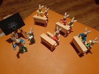 """Винтажные деревянные кролики""""Ученики и учитель"""" Германия.Ручная работа."""
