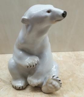 Белый медведь сидящий ЛФЗ 1949 год СССР автор Б.Я. Воробьёв