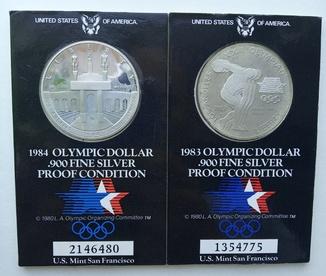 Олимпийские Доллары 1983-1984 Proof condition