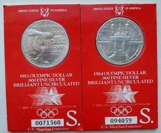 Олимпийские Доллары 1983-1984 Brilliant Uncirculated