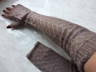 Длинные перчатки митенки рукава бежевые