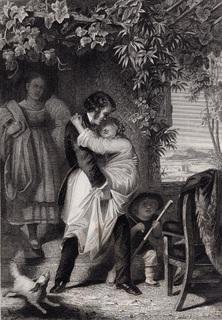 Старинная гравюра. 1860 годa. Выздоравливающая. Пейн. (27х21см.).