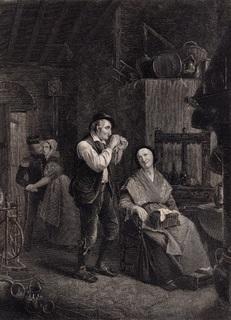 Старинная гравюра. 1860 годa. Два придворных. Пейн. (27х20см.).