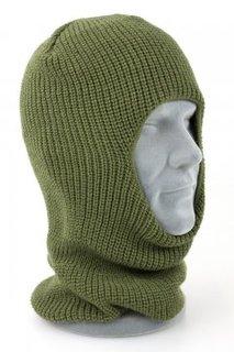 Новая балаклава (маска) 1-о отверстие. Олива, зимняя, вязаная, акрил - Mil-Tec (Германия)