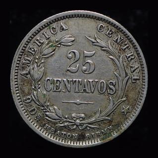 Коста Рика 25 сентавос 1893  серебро Хитон Бирмингем