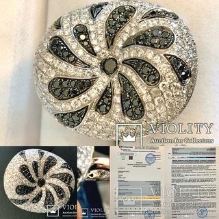 Кольцо с 257 белыми и чёрными бриллиантами 3.79K
