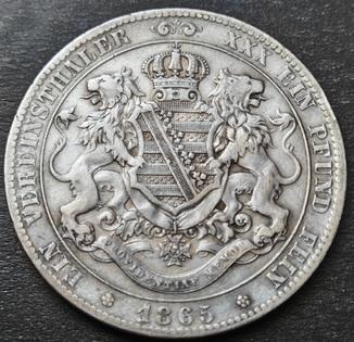 1 Талер 1865 год, Саксония, Иоганн, Серебро