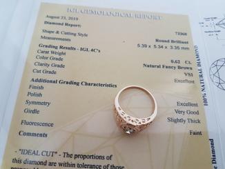Перстень с бриллиантом 0,62 карат + сертификат качества