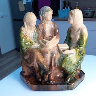 Три девушки колхозницы за учебой - 50-е годы,- Гжель (ГКЗ)