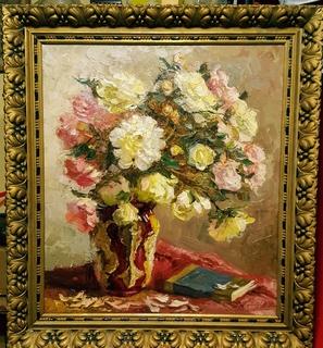 """""""Натюрморт с книгой"""",довоенная работа,х/м.,80×70 см."""