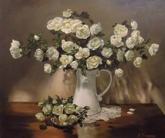 """""""Натюрморт с белыми розами"""" 50х60 см, х/м, Костенко А.С."""