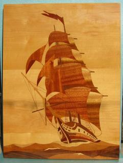 "Интарсия ""Алые паруса"" (60 х 45 см) с биркой, 1979 г."