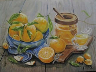 Картина маслом Апельсины 60х45.