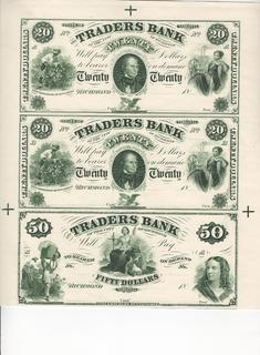 20$, 20 $, 50$, 1850 год, Ричмонд,Виргиния,  Proof Sheet of 3 note
