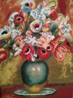 Цветы в вазе. Репродукция Пьера Огюста Ренуара  Цветы 1885 года