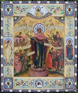 Икона Божьей матери в серебряном окладе с эмалью