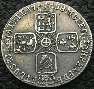 Англия 6 пенсов 1758 год серебро.