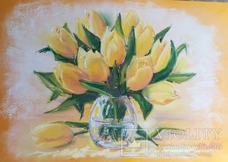 Желтые тюльпаны, букет для хорошего настроения, пастель, 22х32