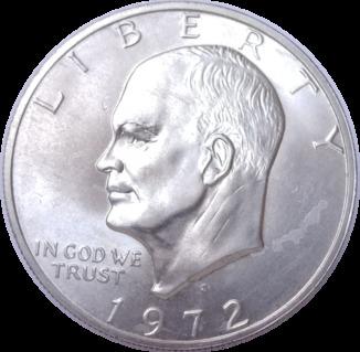 1 доллар Серебро MS  Eisenhower Лунный 1972 S