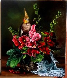 Корзина с цветами.автор Березина К.