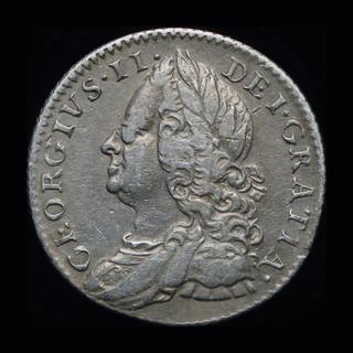Великобритания 6 пенсов 1757 серебро