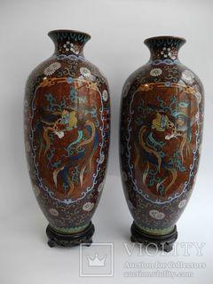 Старинные Японские парные вазы Клуазоне