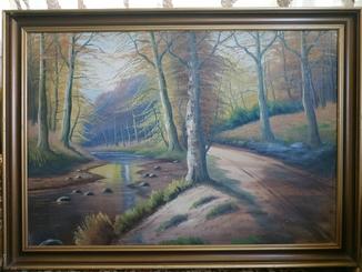 Осенняя речка в лесу/Европа/108*78/подпись автора