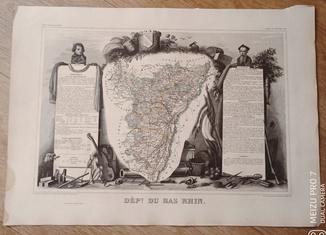 ХІХ век. Франция. Карта с картушами. Большая.