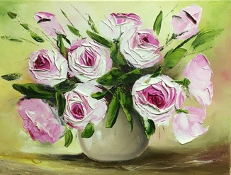 Картина «Букет роз» масло мастихин 30х40