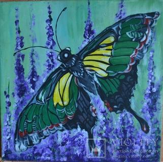 """Картина """"Метелик"""", 40х40 см., акрил, липень 2019 р., Марина Овдієнко, 12 років"""