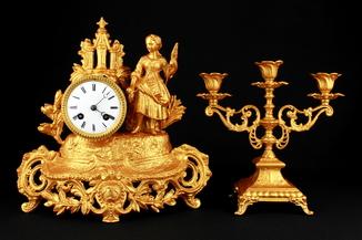 Каминные часы XIX века S.Marti & Cie. Medaille de Bronze. Франция (0468)