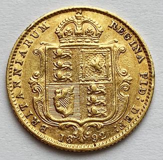1/2 соверена 1892 года. AU