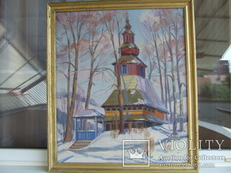 Закарпатская школа Сапатюк М. раз. 70 х 60 см. х.м 1983 г. Зима. Классики.