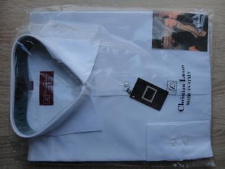 Белые мужские рубашки с длинным рукавом Christian Lusso (разные размеры)