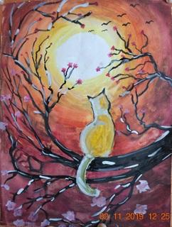 """Картина """"Місячна весняна ніч"""", 40х30 см, жовтень 2018 р,  гуаш, Марина Овдієнко, 12 років"""